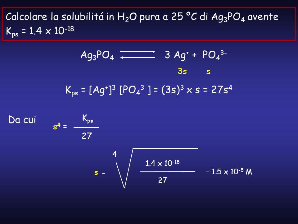 Kps = [Ag+]3 [PO43-] = (3s)3 x s = 27s4